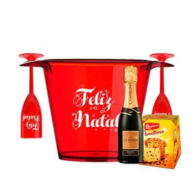 Kit Personalizado Natal contendo: 2 taças 1 balde de gelo 1 champanhe mini 1 panetone mini