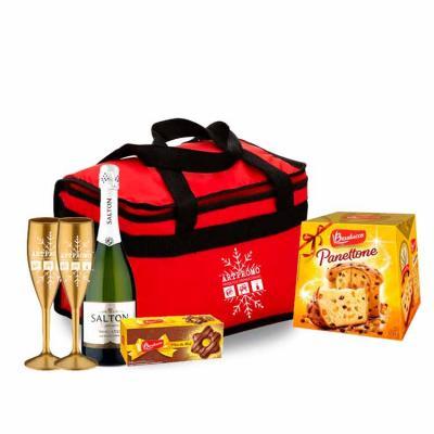 Kit Personalizado Natal contendo: 2 taças 1 bolsa térmica 9 litros 1 panetone 500 grs 1 champanhe...