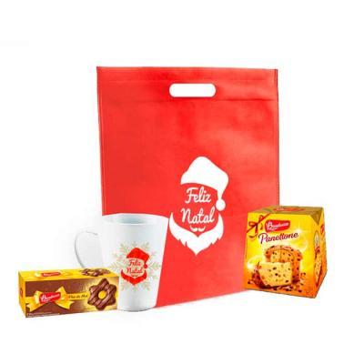 Kit Personalizado Natal contendo: 1 sacola 1 mini panetone 1 caneca de porcelana personalizada 1 ...