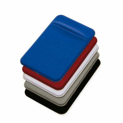 Porta cartões para celular em lycra. Vem com adesivo na parte de trás para fixação no celular.