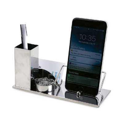 Kit escritório 4 em 1. Material inox espelhado, suporte para cartões, canetas, clips e celular.  Medidas aproximadas para gravação (CxD):2 cm x 10 cm... - ArtPromo