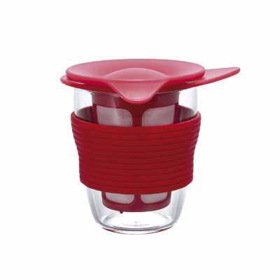 artpromo - Infusor de chá médio de vidro 200ml vermelho  4977642140745 | hario | utens cafe | unidade | cód.: hr-hdt-m-r  Infusor de chá médio de vidro  Material...