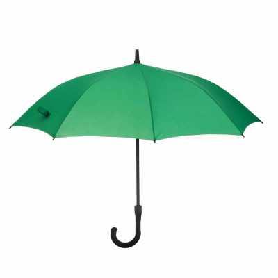 - Guarda-chuva com cabo plástico e haste de metal, botão acionador para abertura automática, oito varetas.