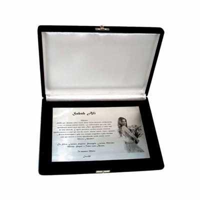 personalite-brindes - Placa de homenagem com foto em inox com estojo