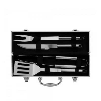 Kit Churrasco 4 peças em maleta de alumínio - Genialle Brindes & Personaliza...