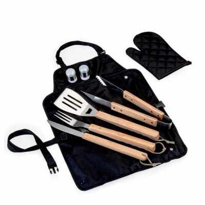 Genialle Brindes & Personalizados - Kit churrasco com 6 peças. Avental em nylon com botões e alça travável para fechar o kit.  Peças de inox com acabamento em madeira e acompanha proteto...