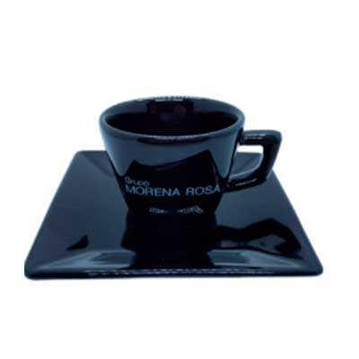 Conjunto café xícara e pires design quadrado
