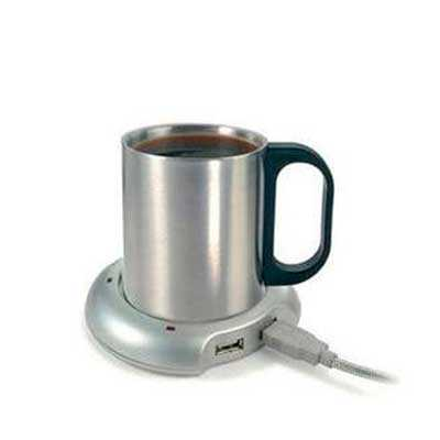 Caneca térmica em inox 200ml. Acompanha base com função aquecedora e hub USB.