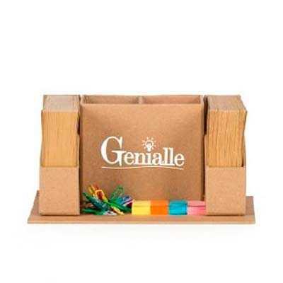 Genialle Brindes & Personalizados - Porta canetas ecológico com bloco de anotações e sticky notes