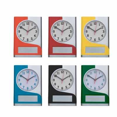 Relógio de parede plástico com detalhe colorido - Genialle Brindes & Personaliza...