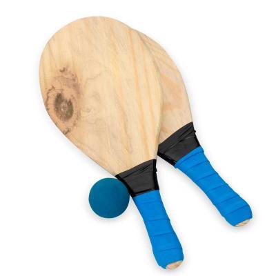 Kit frescobol Personalizado com embalagem de malha plástica. Contém 2 raquetes de madeira com peg...