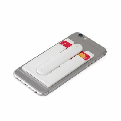 Porta cartões para celular. Silicone. Com autocolante no verso e suporte para smartphone. 57 x 96...