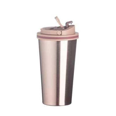 Copo de metal 450ml com tampa. Copo com parte inferior emborrachada antideslizante, tampa rosqueável com alça para transporte e alavanca para abertura... - WXZ BRINDES FABRICAÇÃO  PRÓPRI...