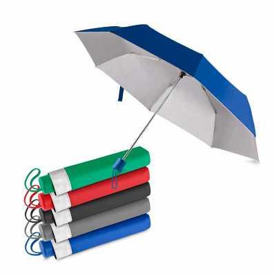 - Guarda-chuva médio com tecido poliéster colorido e parte interna prateada. Possui oito varetas metálicas e cabo plástico. Acompanha capa de poliéster...