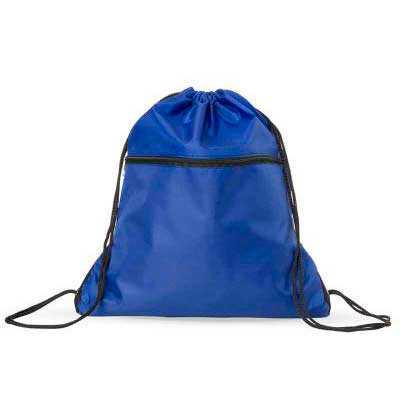 Mochila saco em nylon com duas alças para costa, fechamento superior e compartimento frontal com ...