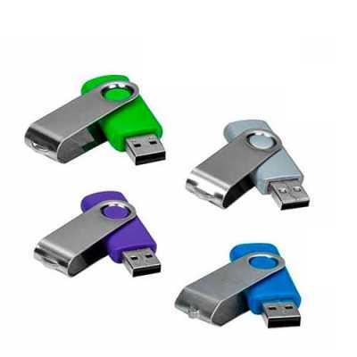 """Pen drive de metal giratório 4E 8 GB, parte interna preta em plástico resistente. Possui uma """"argola"""" na parte em metal que poderá ser utilizado para... - WXZ BRINDES FABRICAÇÃO  PRÓPRI..."""