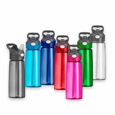 wxz-brindes-promocionais - Squeeze 650ml plástico com acionador para abertura. Material plástico transparente, possui tampa rosqueável com alça e botão acionador com proteção pl...