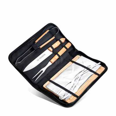 Kit churrasco com estojo. Contém garfo, faca, pegador, avental e tábua de madeira. Medidas: 5 cm x 36.5 cm x 22.5 cm Utilidade Do Produto: Kit com 5 p...