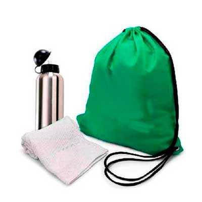 Kit fitness com 3 peças. Contém: um saco de nylon, um squeeze de plástico resistente e uma toalha. GRAVAÇÃO: SILK CASO QUEIRA UMA AMOSTRA VIRTUAL ENVI... - WXZ BRINDES FABRICAÇÃO  PRÓPRI...