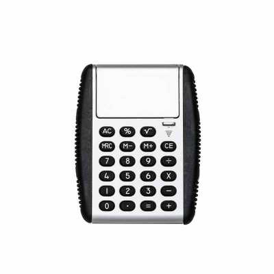 """Calculadora plástica de 8 dígitos com bordas emborrachadas em relevo. Possui compartimento flexível, basta puxar """"botão"""" para baixo que a tampa protet... - P&J Brindes"""