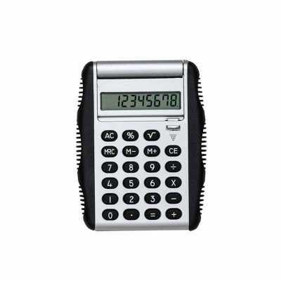 Calculadora plástica de 8 dígitos com bordas emborrachadas em relevo. Possui compartimento flexív...