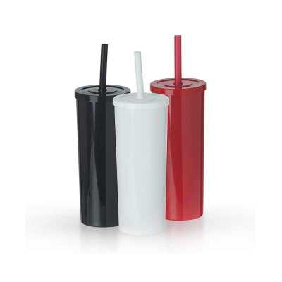 Copo long drink plástico de 380ml e canudo plástico com trava, impedindo-o de escapar da tampa enquanto está em uso. - P&J Brindes