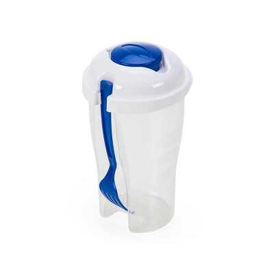 pej-brindes - Descrição: Copo de salada 850ml com garfo e compartimento para molho. Copo plástico transparente com três detalhes ovais na lateral e tampa branca, no...