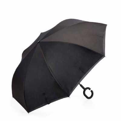 pej-brindes - Guarda-chuva invertido com forro interno. Tecido de nylon impermeável preto, possui um mecanismo inovador permitindo que o usuário não se molhe ao ent...