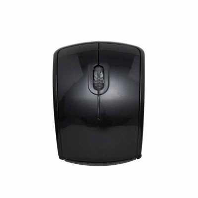 Mouse óptico de tecnologia wireless e retrátil. Mouse anatômico de material plástico resistente, possui rolamento plástico translúcido, laterais textu... - P&J Brindes