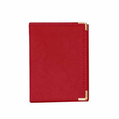 Porta documento em couro sintético com cantoneira dourada ou prata, possui 4 divisórias plásticas grande e duas divisórias pequenas. - P&J Brindes