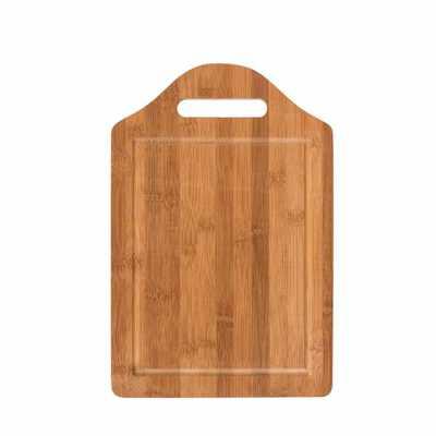 Tábua grande de bambu para corte com canaleta e pegador.  Medidas aproximadas para gravação (CxL):  16,2 cm x 22,1 cm  Tamanho total aproximado  (CxL)... - P&J Brindes