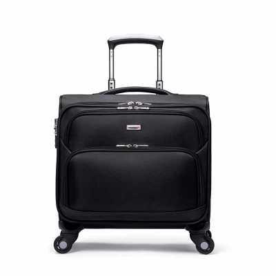Maleta em Nylon com rodas e puxador, com cadeado acoplado na maleta, compartimento para notebook, divisórias e carrinho em alumínio. Visual renovado c... - Compre Malas