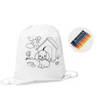 Sacola tipo mochila para colorir - Conecta Brindes