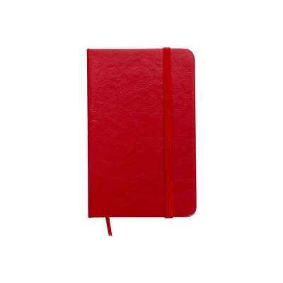 Caderneta personalizada em couro sintético de frente e verso liso, marcador de página em cetim e fita elástica para fechar. Contém aproximadamente 80... - Clark Brindes e Presentes Prom...
