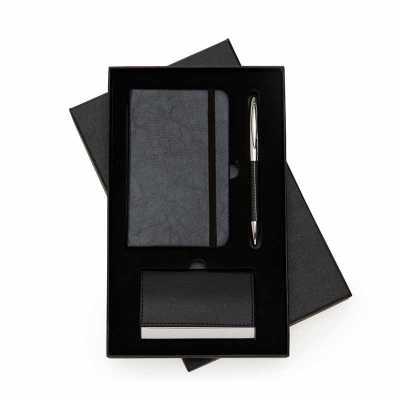 Kit Executivo com caderneta, caneta de metal e porta cartão - Clark Brindes e Presentes Prom...