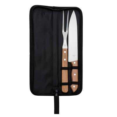 Kit churrasco personalizado composto por garfo, faca e estojo - Clark Brindes e Presentes Prom...