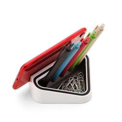 Suporte para celular personalizado com porta canetas e clips - Clark Brindes e Presentes Prom...