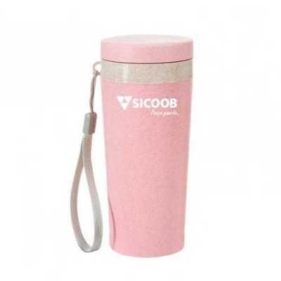 - SMRX-03006 Copo térmico de fibra de bambu de 350ml com alça. Copo produzido em Polipropileno livre de BPA, possui uma tampa de vedação rosqueável e al...