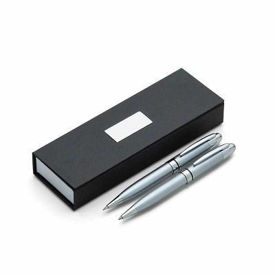 Conjunto caneta e lapiseira metal personalizada