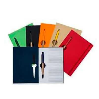 Bloco de anotações ecológico colorido com caneta. - Z3 BRINDES