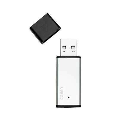 Pen drive retangular 8GB em metal e detalhes preto em plástico