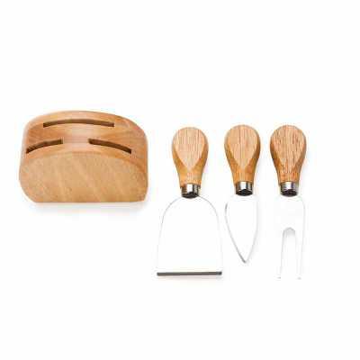 Kit queijo com três peças e base de madeira