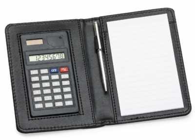 Bloco de anotações com calculadora - Quality Bolsas e Brindes
