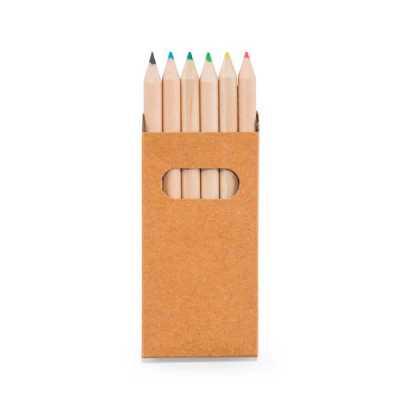fc-brindes - Caixa de cartão com 6 mini lápis de cor