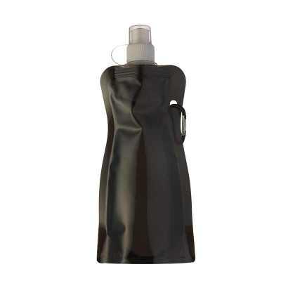 - Squeeze dobrável de plástico com 480ml.  Squeeze colorido acinturado com mosquetão superior de acordo com a cor do squeeze, possui tampa de bico textu...