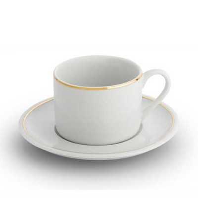 Xicara de chá londres com filhete em ouro