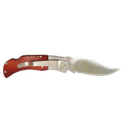 Canivete em lâmina e presilha de aço inox e cabo de madeira