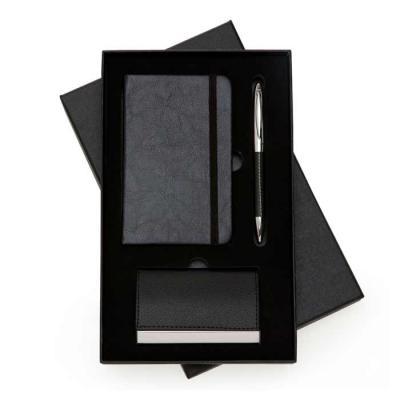 Kit executivo 3 peças em estojo de papelão com tampa e parte interna revestida de espuma. Contém:...