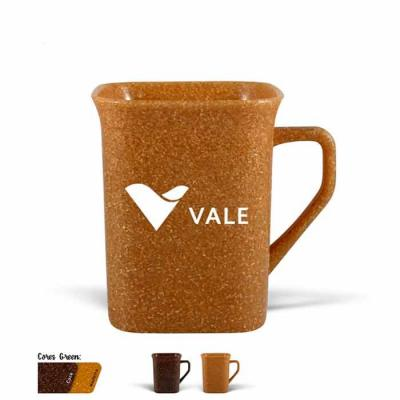 Caneca quadrada personalizada produzida com 50% de Fibra Natural de Madeira, atóxico, resistente ...