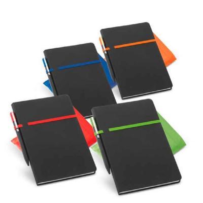 Caderno de anotações em material sintético. Com 96 folhas não pautadas. Fornecido em embalagem de...